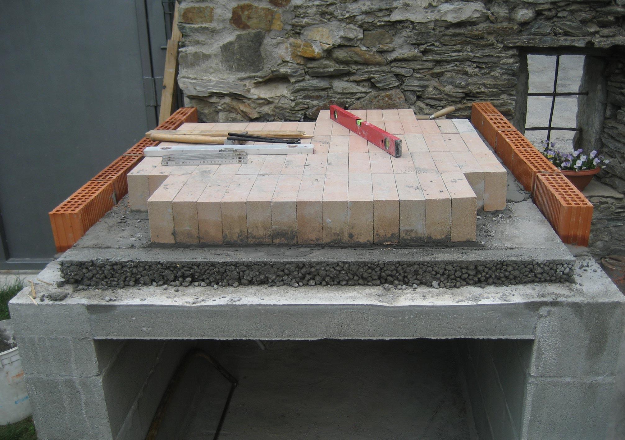 Forno in mattoni refrattari a base rettangolare costruzione for Forno a legna in mattoni refrattari